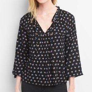 Gap 3/4 Sleeve Print Tiered  Black Floral Top